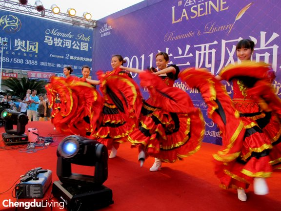 Dancers at a real estate opening